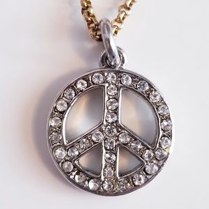 Juicy Couture Silver Peace Sign Necklace